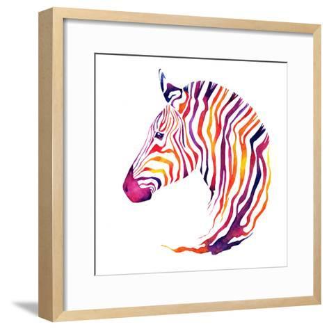 Hand Drawn Watercolor Zebra's Head. Good Quality of Illustration. Multicolor on White Background. N-Uni Ula-Framed Art Print