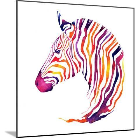 Hand Drawn Watercolor Zebra's Head. Good Quality of Illustration. Multicolor on White Background. N-Uni Ula-Mounted Photographic Print
