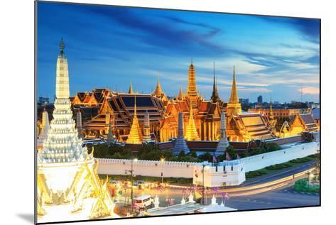 Grand Palace and Wat Phra Keaw at Sunset Bangkok, Thailand. Beautiful Landmark of Thailand. Temple- SOUTHERNTraveler-Mounted Photographic Print