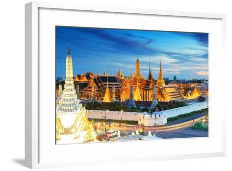 Grand Palace and Wat Phra Keaw at Sunset Bangkok, Thailand. Beautiful Landmark of Thailand. Temple- SOUTHERNTraveler-Framed Art Print