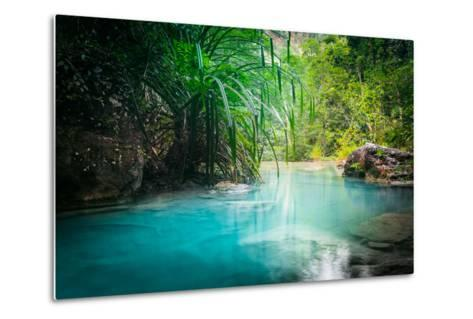 Jungle Landscape with Flowing Turquoise Water of Erawan Cascade Waterfall at Deep Tropical Rain For-Perfect Lazybones-Metal Print