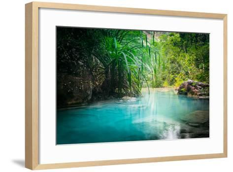 Jungle Landscape with Flowing Turquoise Water of Erawan Cascade Waterfall at Deep Tropical Rain For-Perfect Lazybones-Framed Art Print