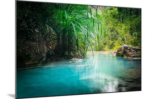 Jungle Landscape with Flowing Turquoise Water of Erawan Cascade Waterfall at Deep Tropical Rain For-Perfect Lazybones-Mounted Photographic Print