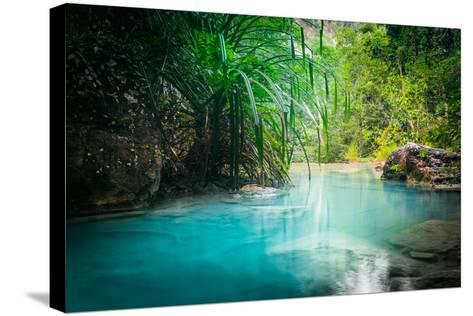 Jungle Landscape with Flowing Turquoise Water of Erawan Cascade Waterfall at Deep Tropical Rain For-Perfect Lazybones-Stretched Canvas Print
