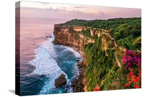 Scenic Landscape of Fantastic Sunset at Uluwatu Bali. Travel Bali, Indonesia. Tranquility of Sunset-Dmitry Polonskiy-Stretched Canvas Print