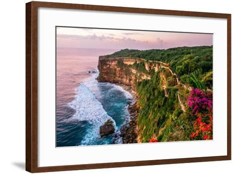 Scenic Landscape of Fantastic Sunset at Uluwatu Bali. Travel Bali, Indonesia. Tranquility of Sunset-Dmitry Polonskiy-Framed Art Print