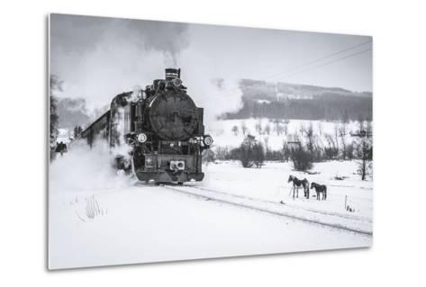 Old Steam Train Puffing across Winter Landscape in Sudeten between Czech Republic and Germany. Vint-Tomas Kulaja-Metal Print