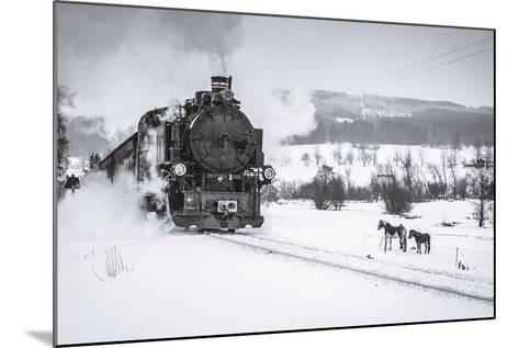 Old Steam Train Puffing across Winter Landscape in Sudeten between Czech Republic and Germany. Vint-Tomas Kulaja-Mounted Photographic Print