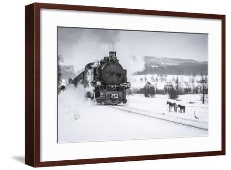 Old Steam Train Puffing across Winter Landscape in Sudeten between Czech Republic and Germany. Vint-Tomas Kulaja-Framed Art Print