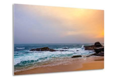 Palm Tropical Beach. Landscape Sunset on Rocky Coast Ocean. Instagram Effect (Vintage).-Travel landscapes-Metal Print