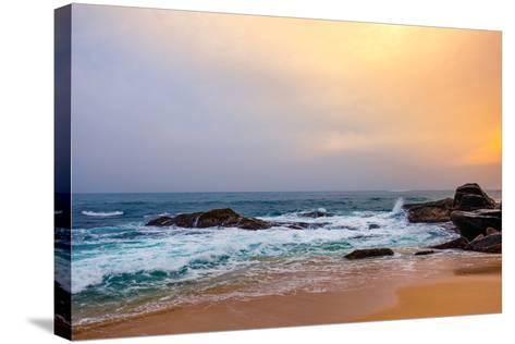 Palm Tropical Beach. Landscape Sunset on Rocky Coast Ocean. Instagram Effect (Vintage).-Travel landscapes-Stretched Canvas Print
