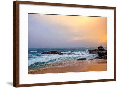Palm Tropical Beach. Landscape Sunset on Rocky Coast Ocean. Instagram Effect (Vintage).-Travel landscapes-Framed Art Print