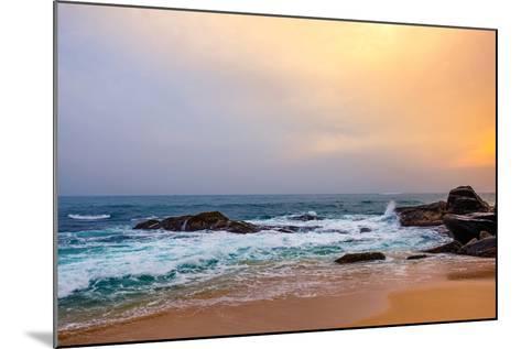 Palm Tropical Beach. Landscape Sunset on Rocky Coast Ocean. Instagram Effect (Vintage).-Travel landscapes-Mounted Photographic Print
