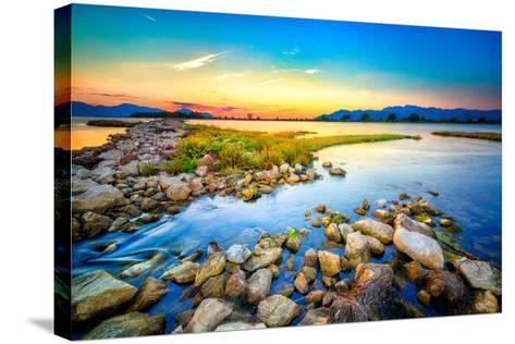 Beautiful Summer Sunset over the Rocky Shore by the Sea. HDR Image- nomadFra-Stretched Canvas Print