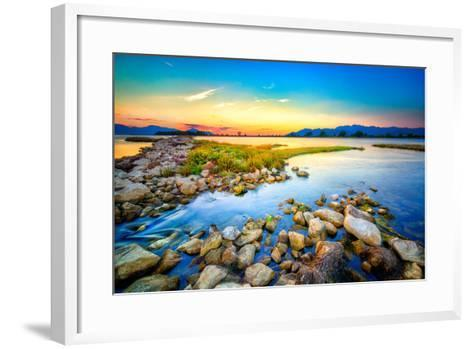 Beautiful Summer Sunset over the Rocky Shore by the Sea. HDR Image- nomadFra-Framed Art Print