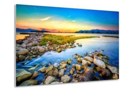 Beautiful Summer Sunset over the Rocky Shore by the Sea. HDR Image- nomadFra-Metal Print