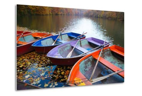 Small Pier with Boats on Lake. Colorful Autumn Landscape- CoolR-Metal Print