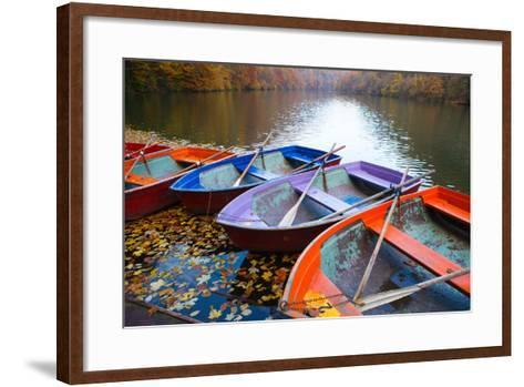 Small Pier with Boats on Lake. Colorful Autumn Landscape- CoolR-Framed Art Print