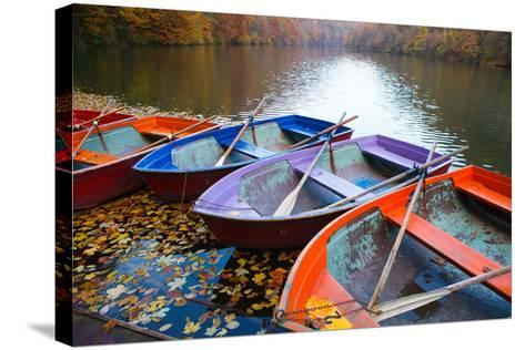 Small Pier with Boats on Lake. Colorful Autumn Landscape- CoolR-Stretched Canvas Print