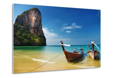 Tropical Beach, Traditional Long Tail Boats, Andaman Sea, Thailand-Dmitry Pichugin-Metal Print
