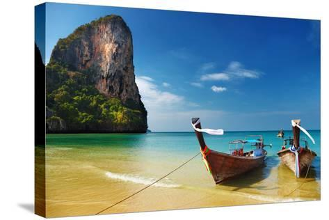 Tropical Beach, Traditional Long Tail Boats, Andaman Sea, Thailand-Dmitry Pichugin-Stretched Canvas Print