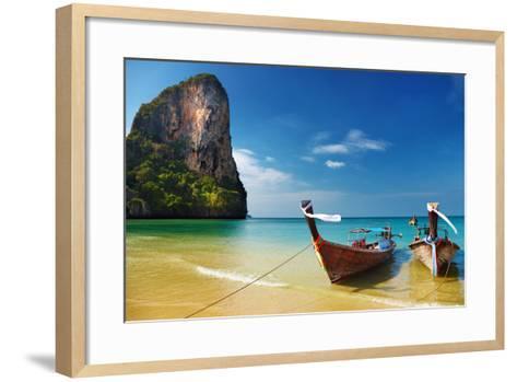 Tropical Beach, Traditional Long Tail Boats, Andaman Sea, Thailand-Dmitry Pichugin-Framed Art Print
