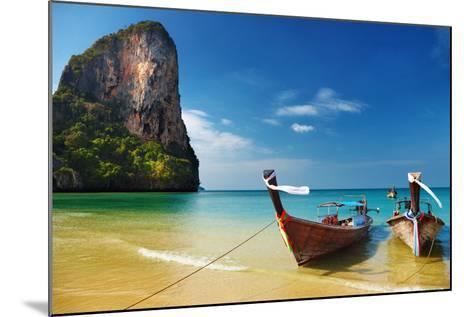Tropical Beach, Traditional Long Tail Boats, Andaman Sea, Thailand-Dmitry Pichugin-Mounted Photographic Print