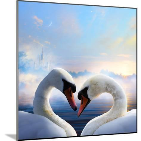 Pair of Swans in Love Floating on the Water at Sunrise of the Day-Konstanttin-Mounted Photographic Print