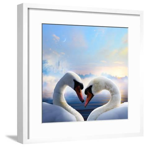 Pair of Swans in Love Floating on the Water at Sunrise of the Day-Konstanttin-Framed Art Print
