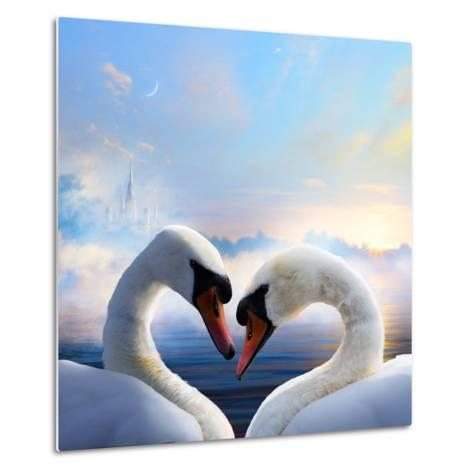 Pair of Swans in Love Floating on the Water at Sunrise of the Day-Konstanttin-Metal Print