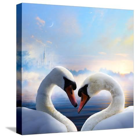 Pair of Swans in Love Floating on the Water at Sunrise of the Day-Konstanttin-Stretched Canvas Print