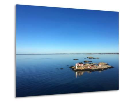 Seascape of a Swedish Fjord with Little Lighthouse on a Rocky Island- adiekoetter-Metal Print