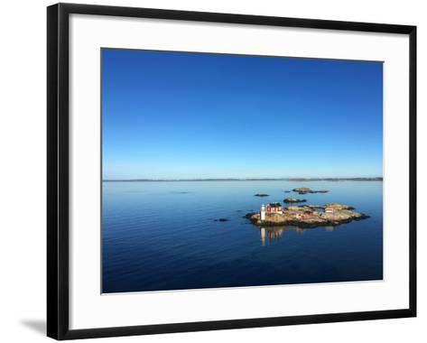 Seascape of a Swedish Fjord with Little Lighthouse on a Rocky Island- adiekoetter-Framed Art Print