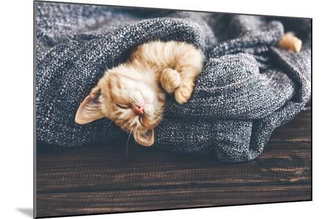 Cute Little Ginger Kitten is Sleeping in Soft Blanket on Wooden Floor-Alena Ozerova-Mounted Photographic Print
