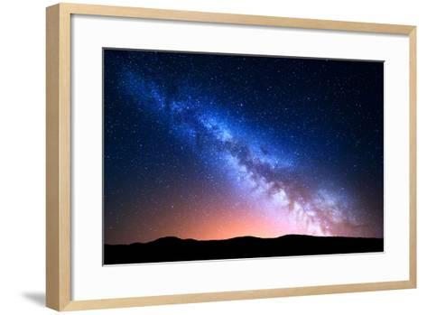 Night Landscape with Colorful Milky Way and Yellow Light at Mountains. Starry Sky with Hills at Sum-Denis Belitsky-Framed Art Print