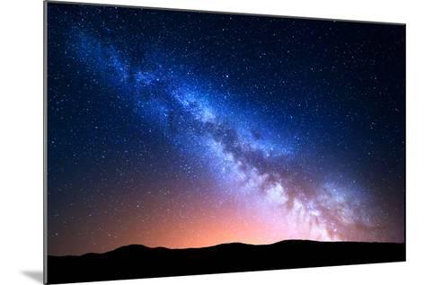 Night Landscape with Colorful Milky Way and Yellow Light at Mountains. Starry Sky with Hills at Sum-Denis Belitsky-Mounted Photographic Print