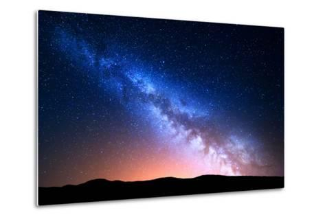 Night Landscape with Colorful Milky Way and Yellow Light at Mountains. Starry Sky with Hills at Sum-Denis Belitsky-Metal Print