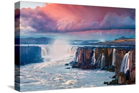 Colorful Summer Landscape on Jokulsa a Fjollum River. Beautiful Sunrise Scene on the Selfoss Waterf-Andrew Mayovskyy-Stretched Canvas Print