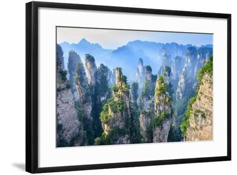 Landscape of Zhangjiajie. Taken from Old House Field. Located in Wulingyuan Scenic and Historic Int- aphotostory-Framed Art Print