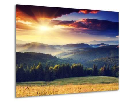 Majestic Sunset in the Mountains Landscape. Dramatic Sky. Carpathian, Ukraine, Europe.-Creative Travel Projects-Metal Print