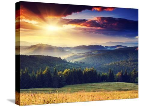 Majestic Sunset in the Mountains Landscape. Dramatic Sky. Carpathian, Ukraine, Europe.-Creative Travel Projects-Stretched Canvas Print