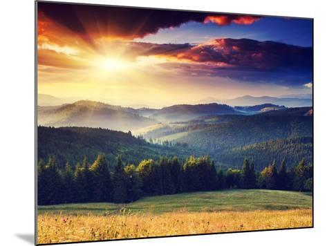Majestic Sunset in the Mountains Landscape. Dramatic Sky. Carpathian, Ukraine, Europe.-Creative Travel Projects-Mounted Photographic Print