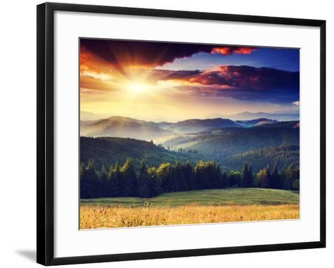 Majestic Sunset in the Mountains Landscape. Dramatic Sky. Carpathian, Ukraine, Europe.-Creative Travel Projects-Framed Art Print