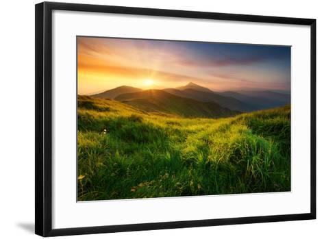 Mountain Valley during Sunrise. Natural Summer Landscape- biletskiy-Framed Art Print