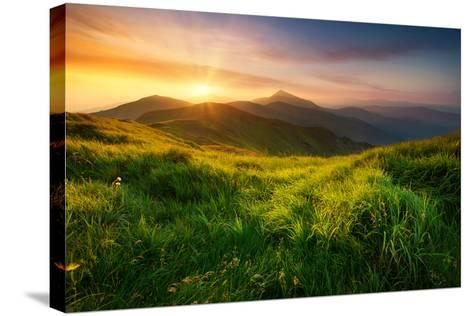 Mountain Valley during Sunrise. Natural Summer Landscape- biletskiy-Stretched Canvas Print