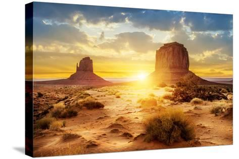 Sunset at the Sisters in Monument Valley, USA- ventdusud-Stretched Canvas Print