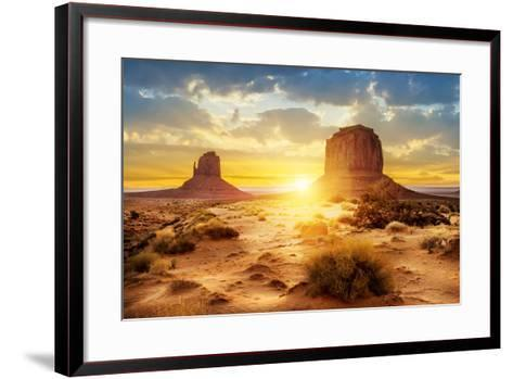 Sunset at the Sisters in Monument Valley, USA- ventdusud-Framed Art Print