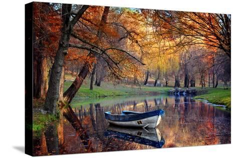 Colorful Autumn Landscape.Nature Background.Boat on the Lake in the Autumnal Forest-Iancu Cristian-Stretched Canvas Print