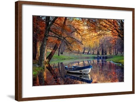 Colorful Autumn Landscape.Nature Background.Boat on the Lake in the Autumnal Forest-Iancu Cristian-Framed Art Print
