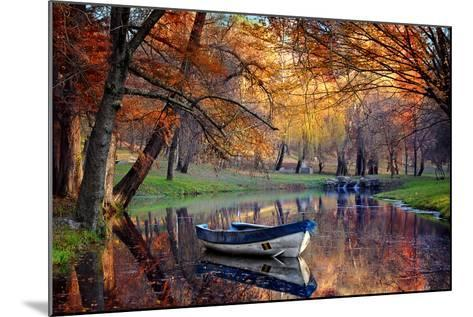 Colorful Autumn Landscape.Nature Background.Boat on the Lake in the Autumnal Forest-Iancu Cristian-Mounted Photographic Print